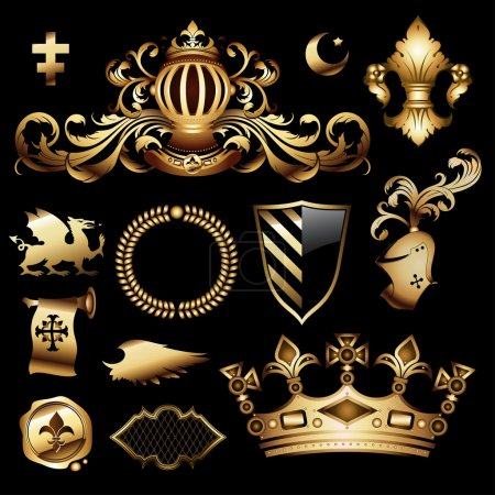 Illustration for Heraldic royal set, this illustration may be useful as designer work - Royalty Free Image
