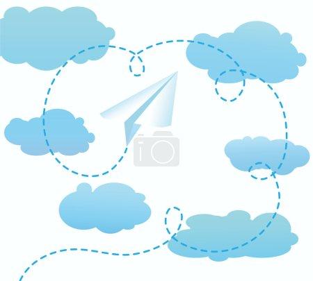 Illustration pour L'avion en papier volant vers le ciel - image libre de droit