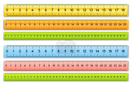 The six color rulers. Vector illustration