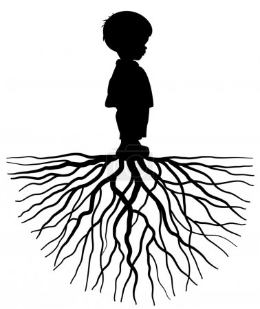 The black silhouette of a child with root