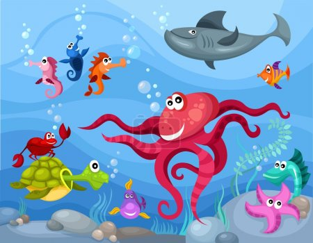 Illustration for Vector illustration of a sea life - Royalty Free Image