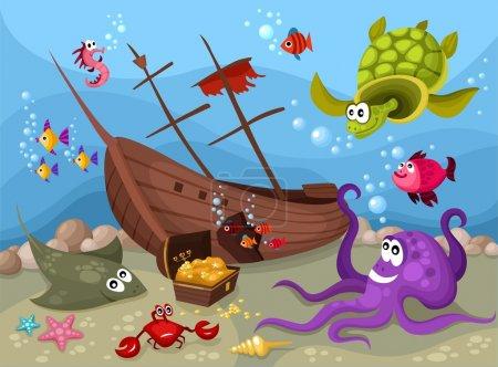 Photo pour Illustration vectorielle d'une vie de mer - image libre de droit