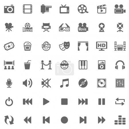 Photo pour 49 icônes médias utiles sur fond blanc - image libre de droit