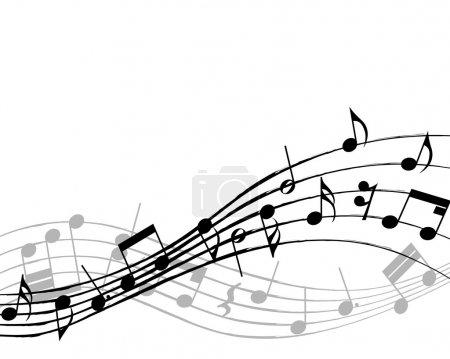 Illustration pour Notes de musique vectorielles arrière-plan de la portée pour le design - image libre de droit