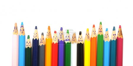 Photo for Happy group of pencil faces isolated on white - Royalty Free Image