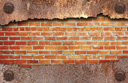 Photo for Torn metal texture over brick wall background - Royalty Free Image