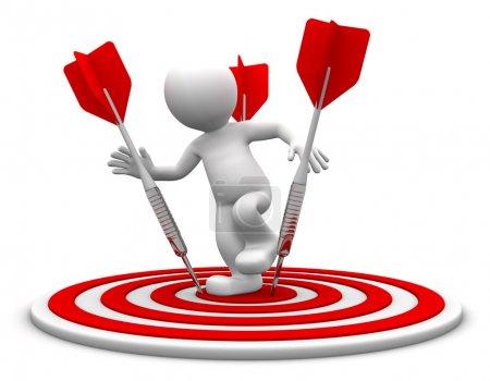 Photo pour Commandes de personnage 3D sur le tableau de tir à l'arc. illustration de l'activité conceptuelle. isolé sur blanc - image libre de droit