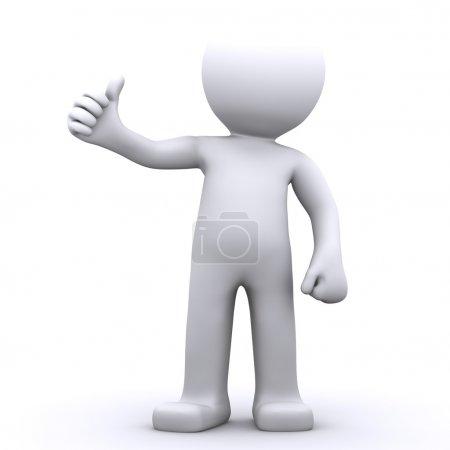 Photo pour Homme de caractère 3D montrant les pouces vers le haut. fond isolé onwhite - image libre de droit