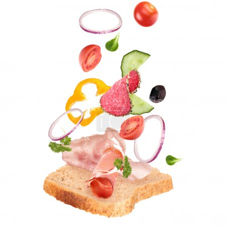 Photo for Delicious sandwich with ingredients in the air - Royalty Free Image