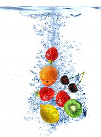 Fruit splashing into the water