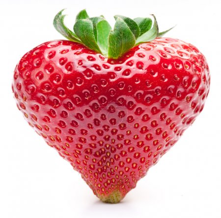 Photo for Strawberry heart. Isolated on a white background. - Royalty Free Image