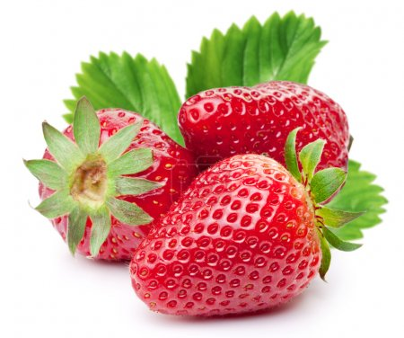 Appetizing strawberries with leaves.