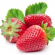Appetizing strawberries with leaves. Isolated on a...