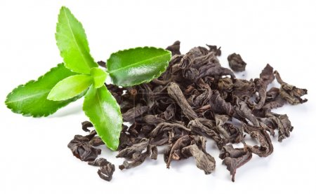 Foto de Montón de té seco con hojas de té verde aislado sobre un fondo blanco. - Imagen libre de derechos