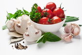 Group of fresh vegetables and tomatoes