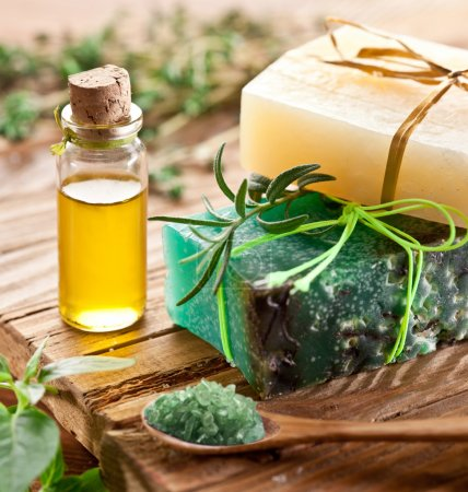 Photo for Pieces of natural soap with oil and herbs. - Royalty Free Image