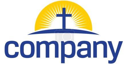 Photo pour Lumière du soleil autour de croix logo - image libre de droit