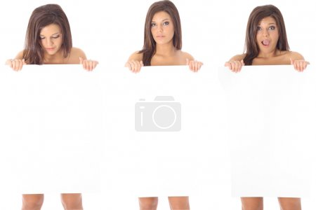Photo for Three women holding a blank sign - Royalty Free Image