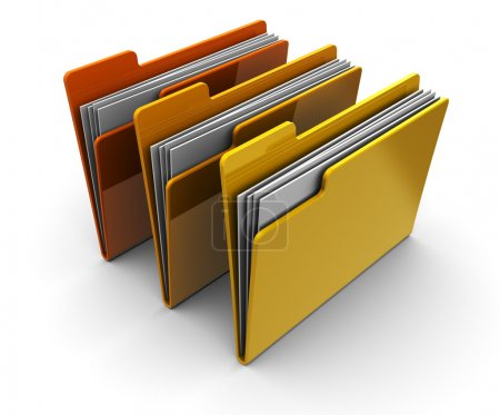 Photo for 3d illustration of three folders over white background - Royalty Free Image