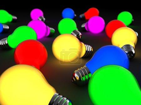 Photo pour Abstract illustration 3d de nombreuses ampoules colorées - image libre de droit