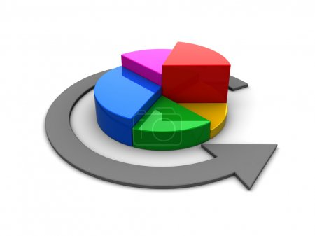 Photo pour Illustration 3D de diagramme à secteurs colorés sur fond blanc - image libre de droit