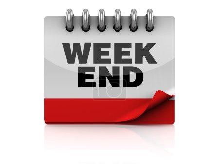 Photo pour Illustration 3d de la page du calendrier avec texte 'week end' - image libre de droit