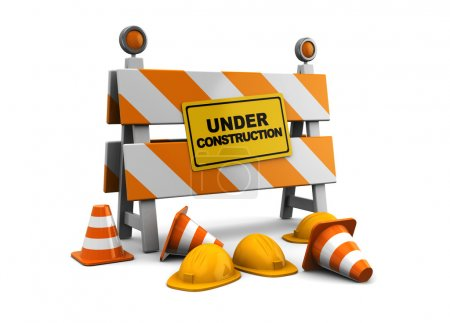 Photo for 3d illustration of under construction barrier over white background - Royalty Free Image