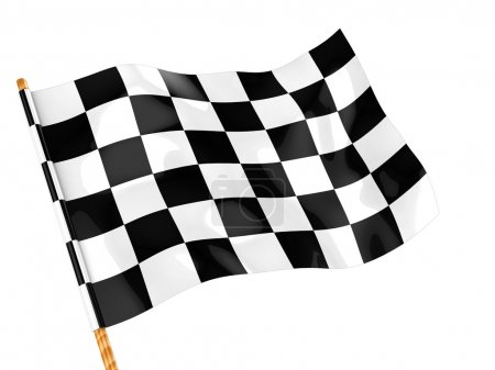 Photo for 3d illustration of checkers flag isolated over white background - Royalty Free Image