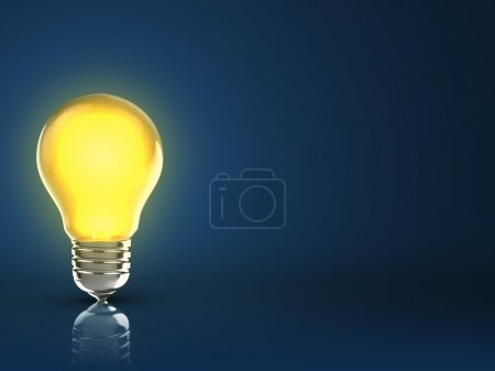 Photo for 3d illustration of light bulb over dark blue background - Royalty Free Image
