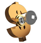 clé verrouillée symbole dollar