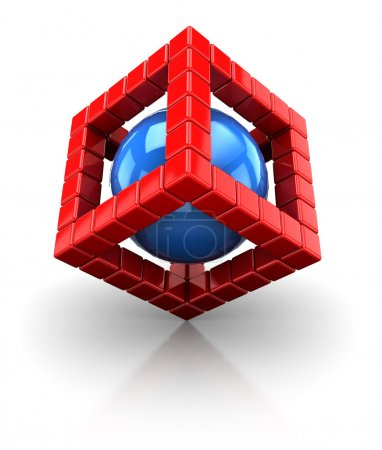 3d cube structure with sphere
