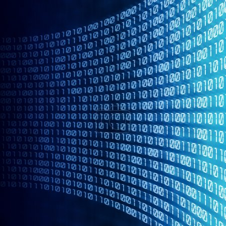 Photo for Abstract binary code on blue digital screen - Royalty Free Image