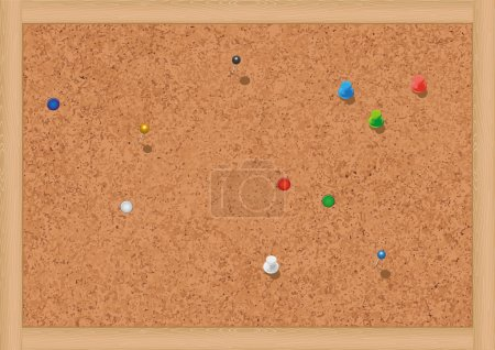 Vector illustration of a blank cork notice board with thumbtacks.