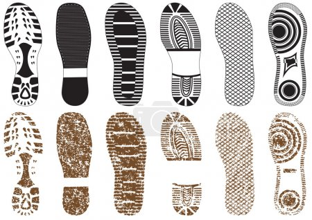 Illustration for Illustration set of footprints. All vector objects are isolated and grouped. Colors and transparent background color are easy to customize. - Royalty Free Image