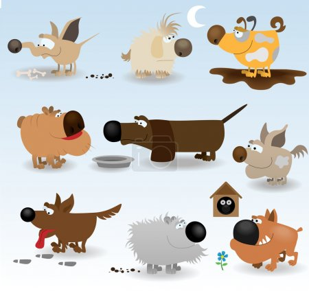 Cartoon funny dogs set
