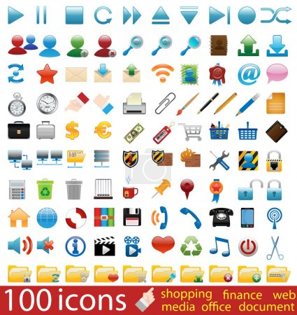 Hundred shiny vector Icons