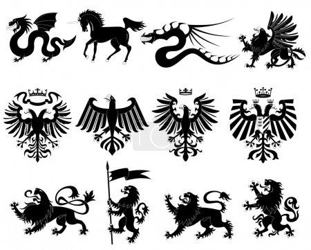 Vector heraldic animals set #2