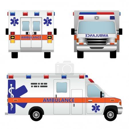Illustration for Ambulance car. Vector illustration isolated on white background - Royalty Free Image