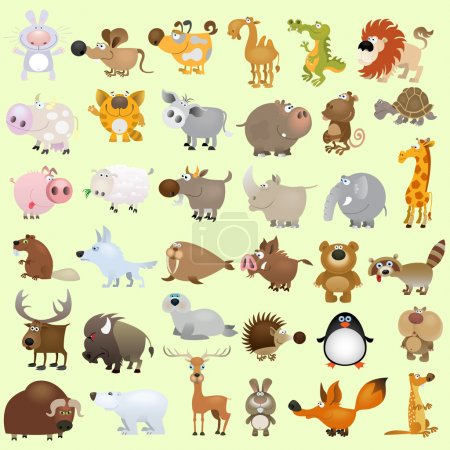 Illustration for Big vector cartoon animal set - Royalty Free Image