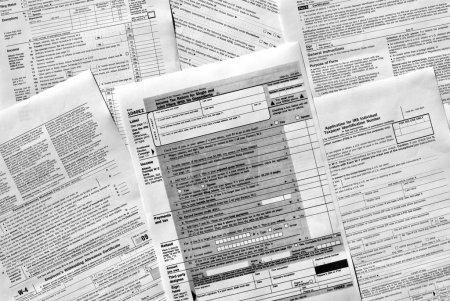 Photo pour Gamme de divers formulaires fiscaux vierges USA - image libre de droit