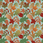 Four-tile repeating pattern of Autumn leaves on a blue background Gradients are used on non-repeating leaves