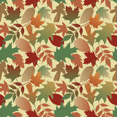 Seamless pattern of autumn leaves on a yellow background