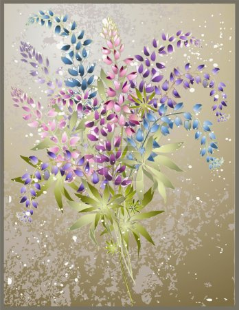 Illustration for Background from flower of the lupine . Bouquet from a lupine flower. - Royalty Free Image