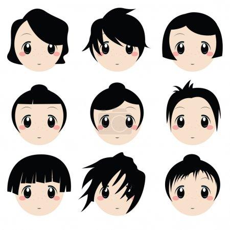 Illustration pour Ensemble de vecteur de dessin animé visages - image libre de droit