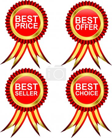 Best choice, best offer, best product and best labels with ribbons. Vector