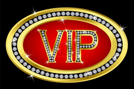 Photo for Vip golden icon with diamonds,vector - Royalty Free Image