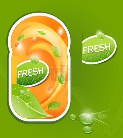 Illustration pour Stickers vectoriels avec un fond juteux et frais avec des feuilles et des gouttes - image libre de droit