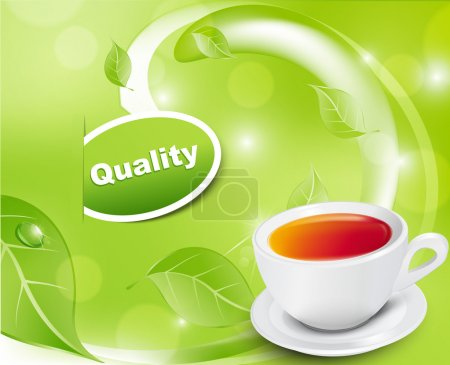 Illustration for Vector white tea cup with the leaves on a green background - Royalty Free Image