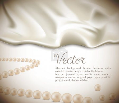 Elegant holiday vector background with white silk and pearls