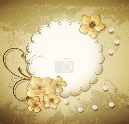 Illustration pour Grunge de vecteur, fond vintage avec une carte de voeux, des perles, des fleurs - image libre de droit